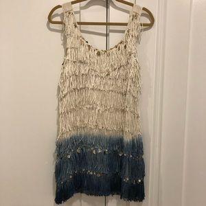 Calypso St. Barth Silk & Fringe Ombré Dress Sz S